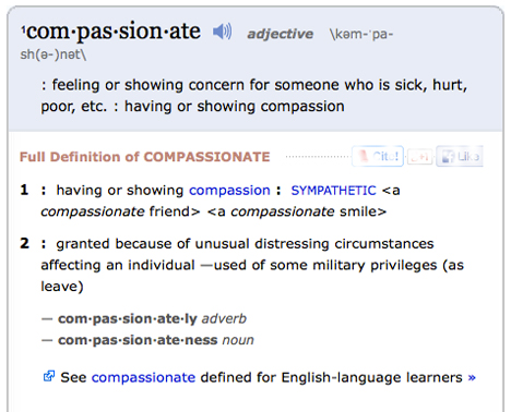 definition of compassionate