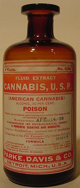Old bottle of cannabis medicine